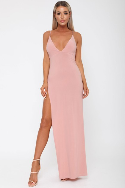 Belinda Long Dress in Blush