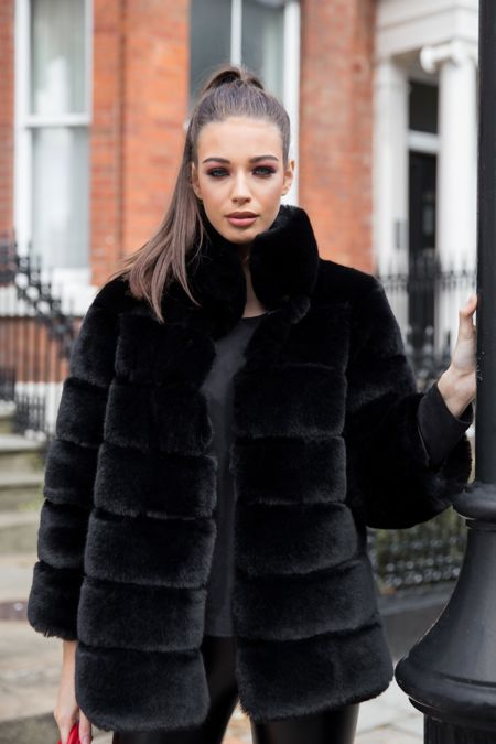 Candice Collared Faux Fur Jacket in Black