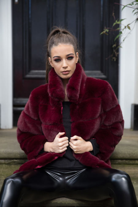 Candice Collared Faux Fur Jacket in Wine