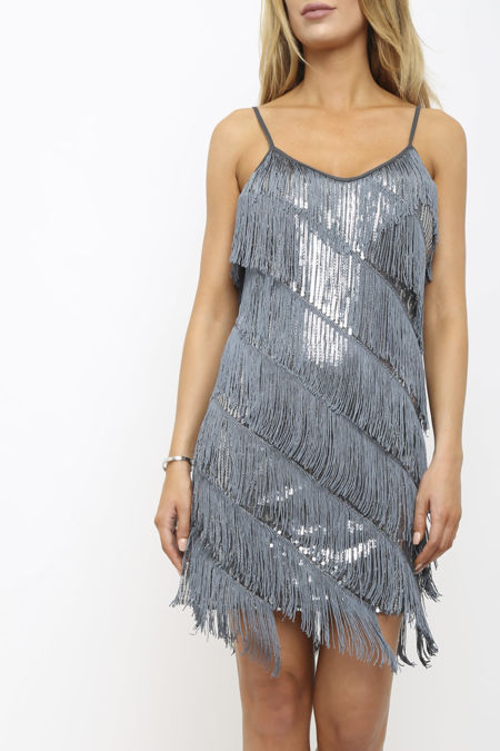 Marnie Grey Sequin Tassle Dress