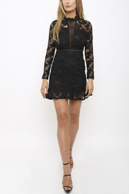 Isla Lace Mini Dress in Black