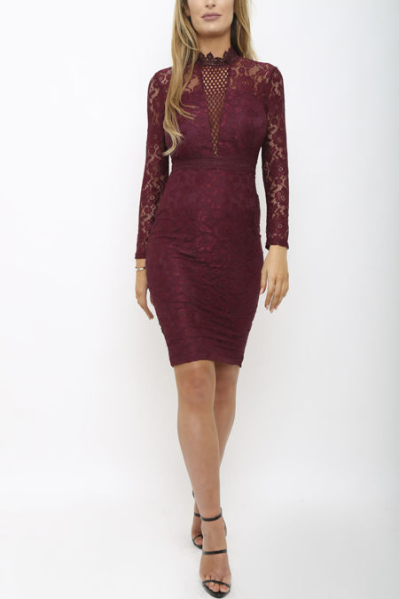 Evie Lace Mini Dress In Plum