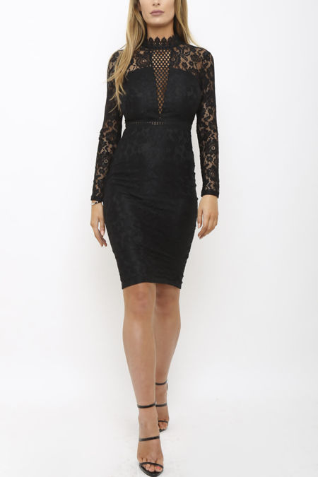 Evie Lace Mini Dress in Black