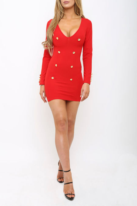Sian Button Mini Dress in Red