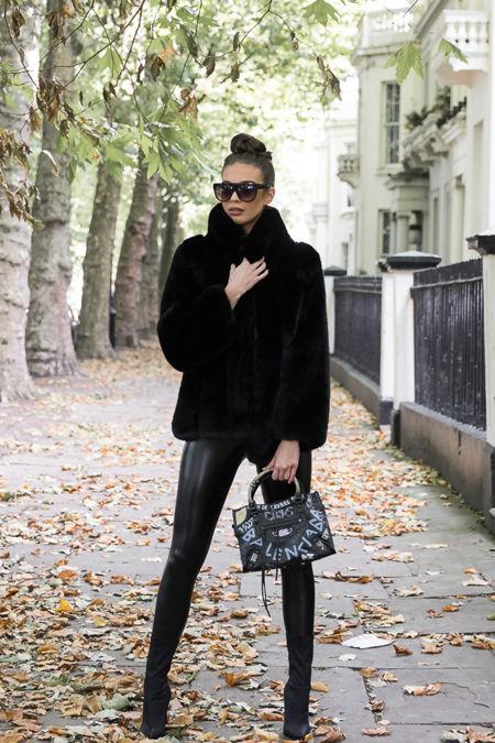 Carter Collared Faux Fur Coat in Black