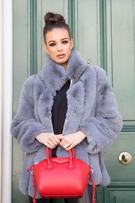Carter Collared Faux Fur Coat in Grey