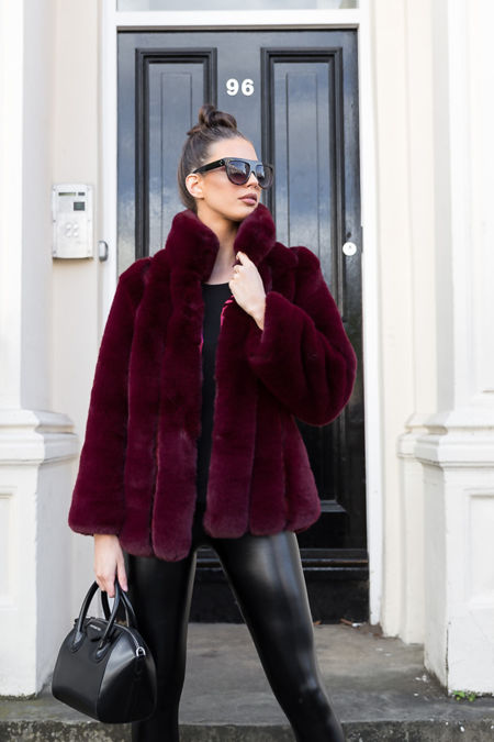 Carter Collared Faux Fur Coat in Wine