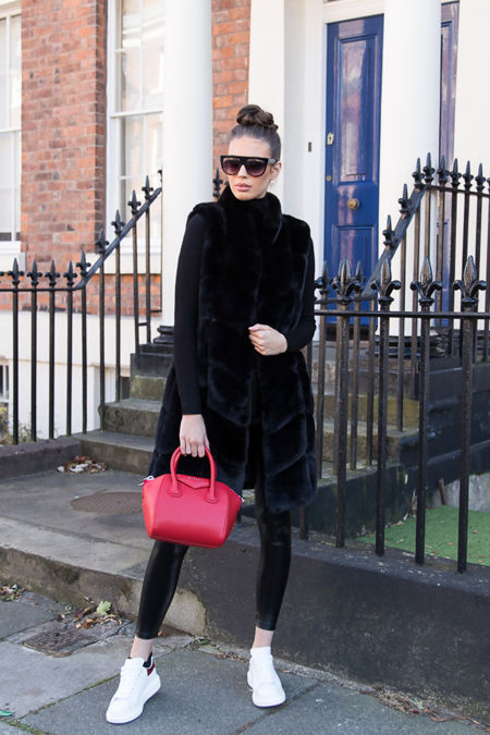 Chrissie Faux Fur Long Gilet in Black