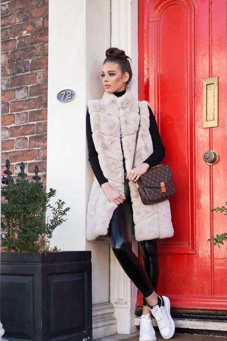 Chrissie Faux Fur Long Gilet in Ivory