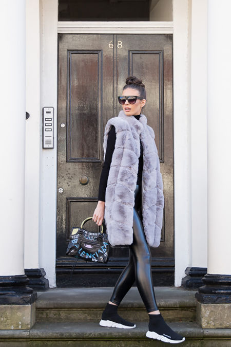Chrissie Faux Fur Long Gilet in Grey