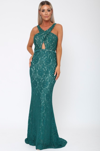 Harper Lace Backless Gown in Emerald Green