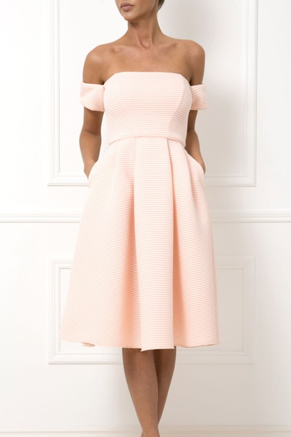 Elena Bardot Skater Dress in Coral