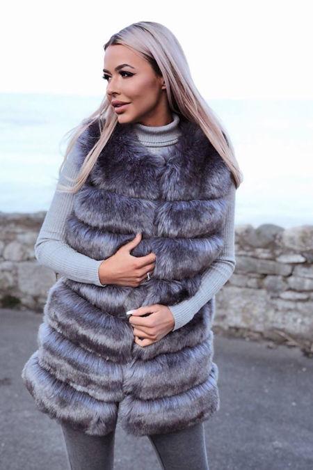 Jelena Gilet in Metallic Grey