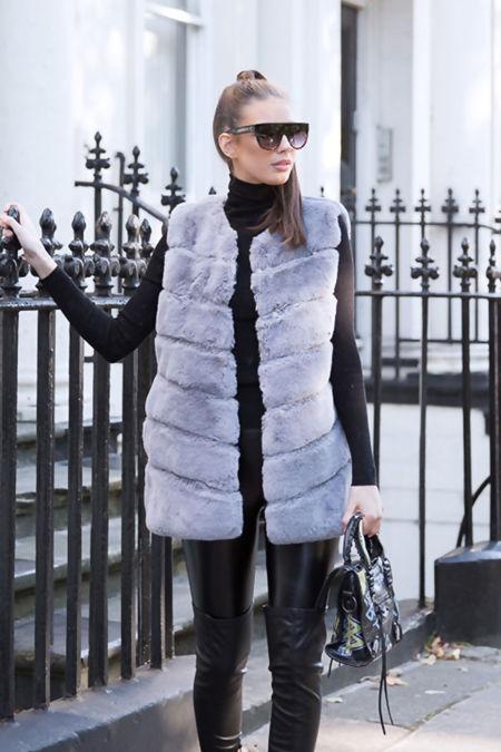 Lauren Faux Fur Short Gilet in Grey