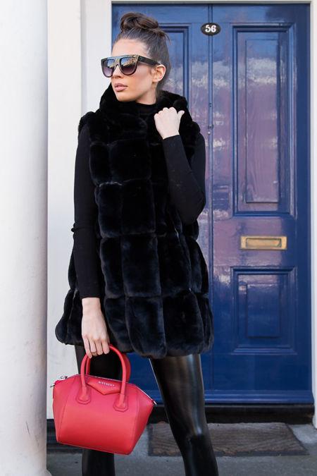 Jade Hooded Faux Fur Gilet in Black
