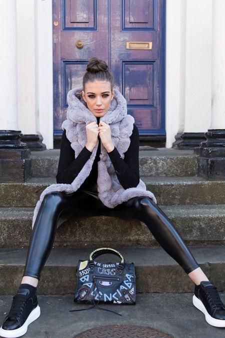 Jade Hooded Faux Fur Gilet in Grey