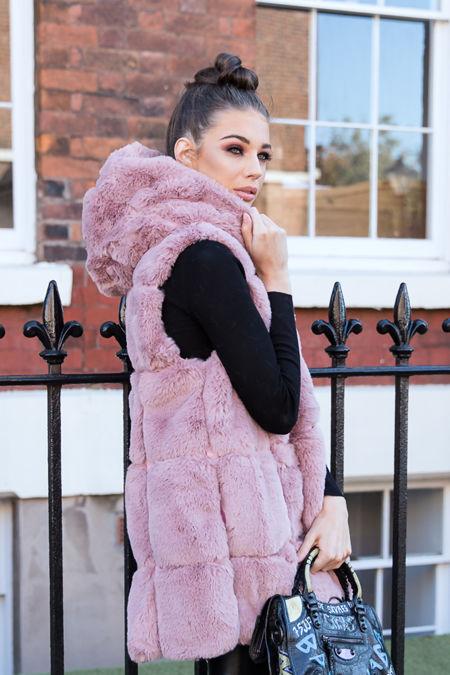 Jade Hooded Faux Fur Gilet in Pink