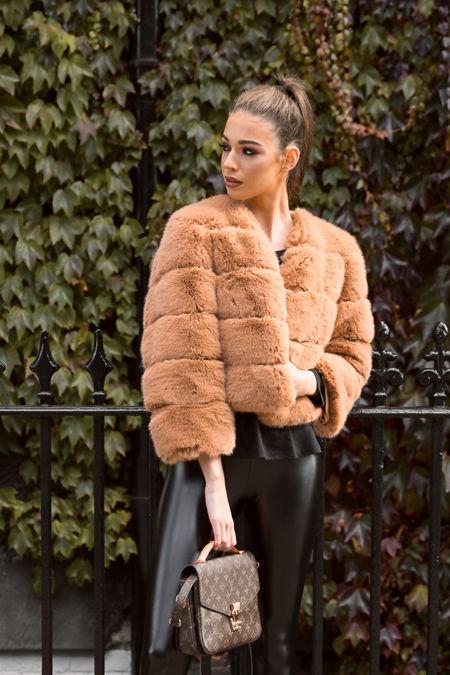 Lani Faux Fur Jacket in Tan