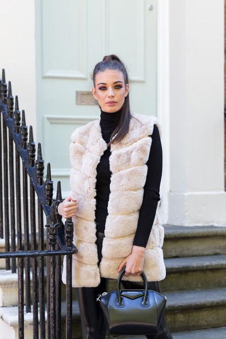 Lauren Faux Fur Short Gilet in Ivory