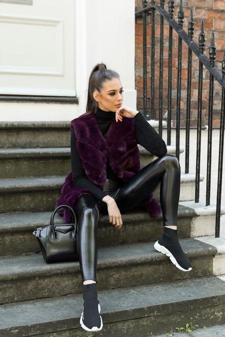 Lauren Faux Fur Short Gilet in Purple