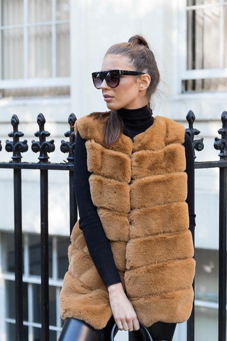 Lauren Faux Fur Short Gilet in Camel