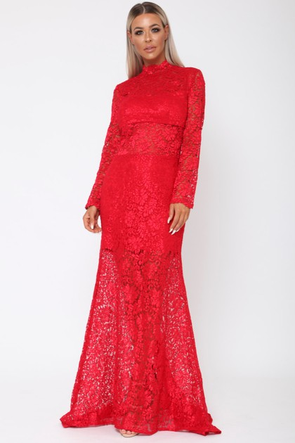 Lace Long Sleeve Gown in Red