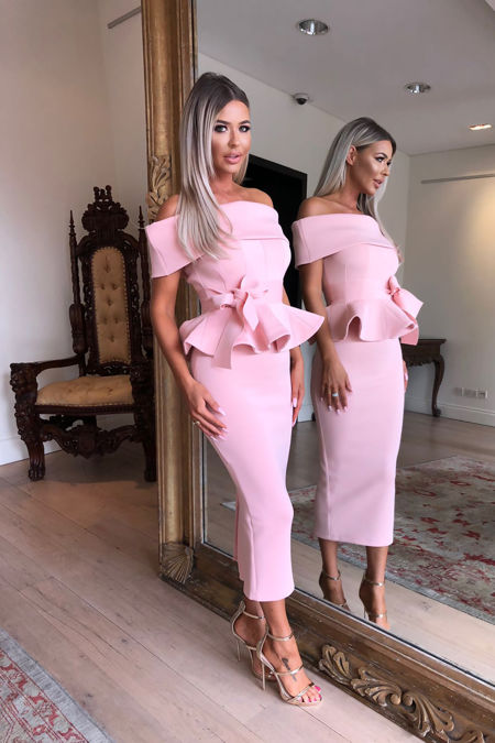 Tammy Bardot Midi Two-Piece in Pink