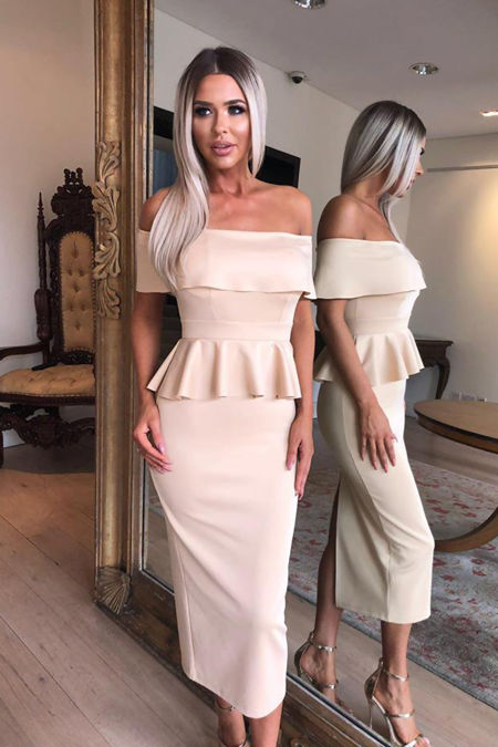 Tamara Peplum Dress in Nude