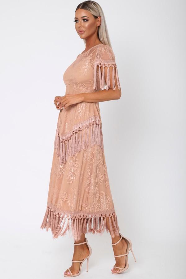 Gozo Lace Midi Tassel Dress in Blush Pink
