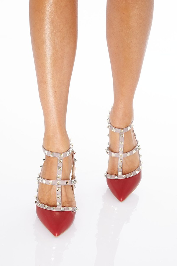 Angelina Studded Heels in Burgundy Matte