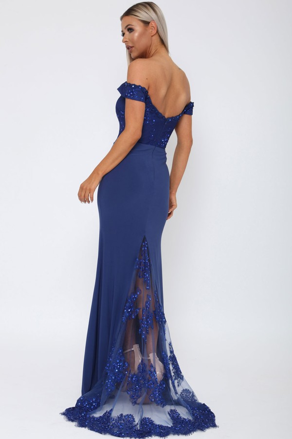 Bardot Lace Train Gown in Blue
