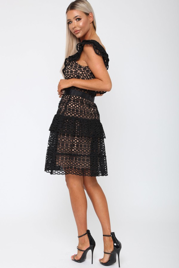 Tobi One-Sleeved Dress in Black