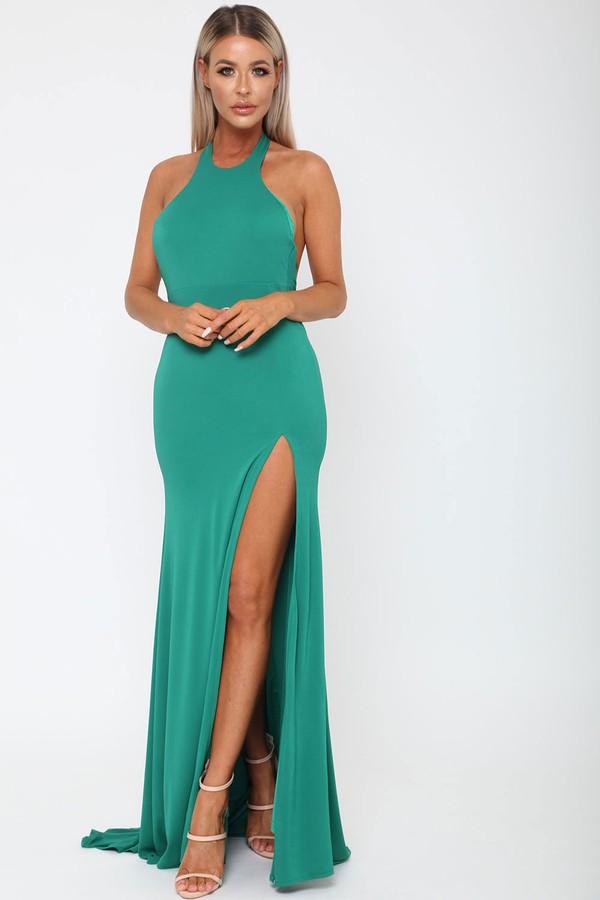 Amara Long Gown in Bottle Green