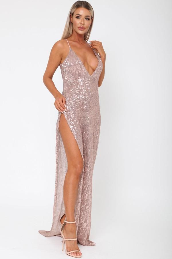 Belinda Sequin Long Gown in Rose Gold