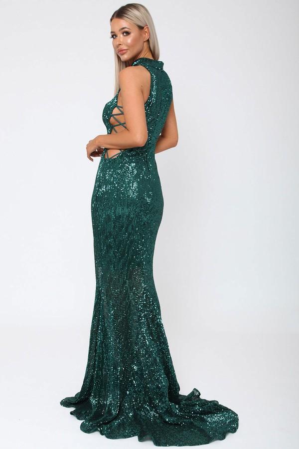 Bella Sequin Long Gown in Emerald Green