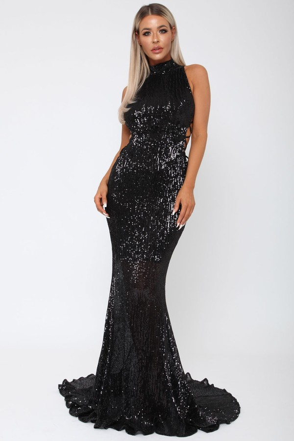 Bella Sequin Long Gown in Black - Cari\'s Closet