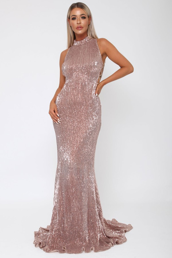 Bella Sequin Long Gown in Rose Gold - Cari\'s Closet