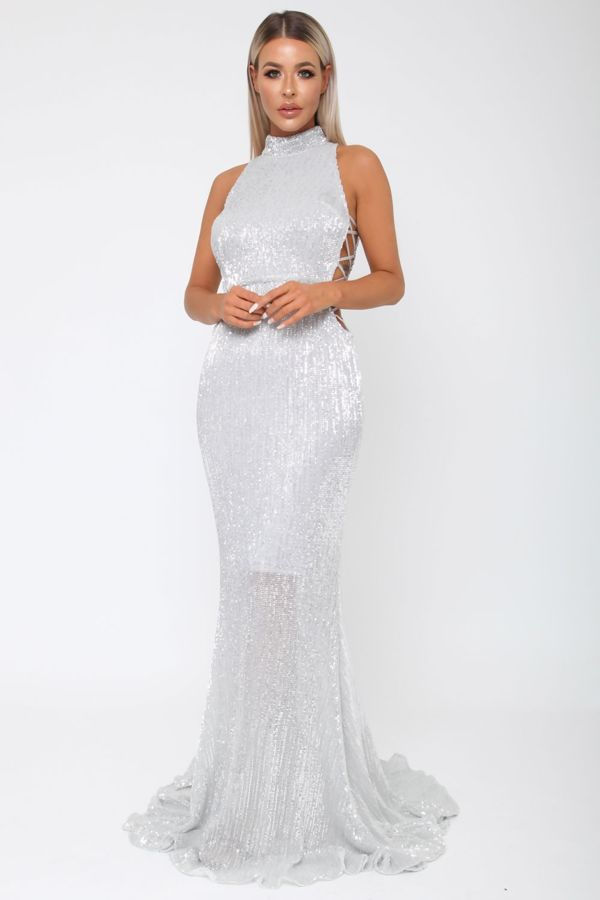 Bella Sequin Long Gown In Silver Cari S Closet