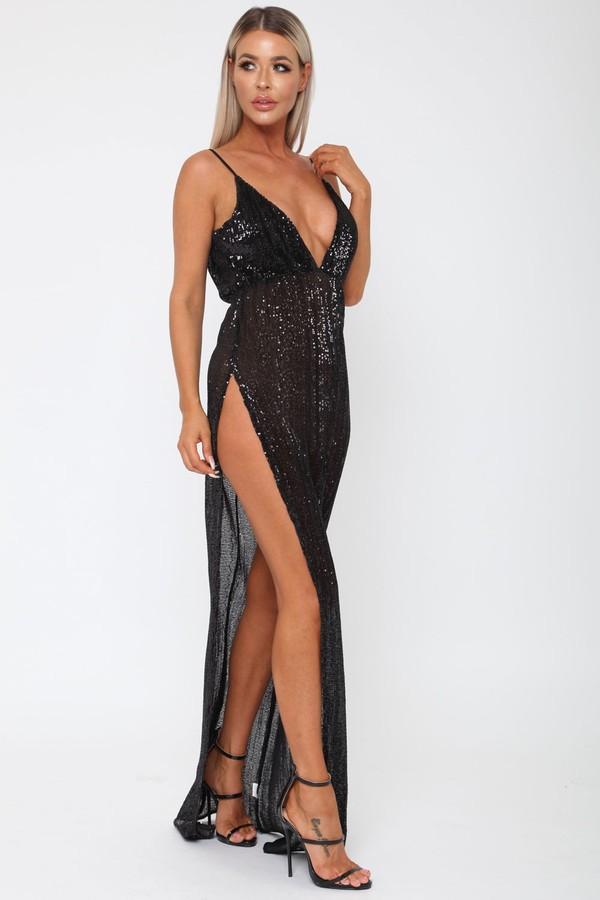 Belinda Sequin Long Gown in Black