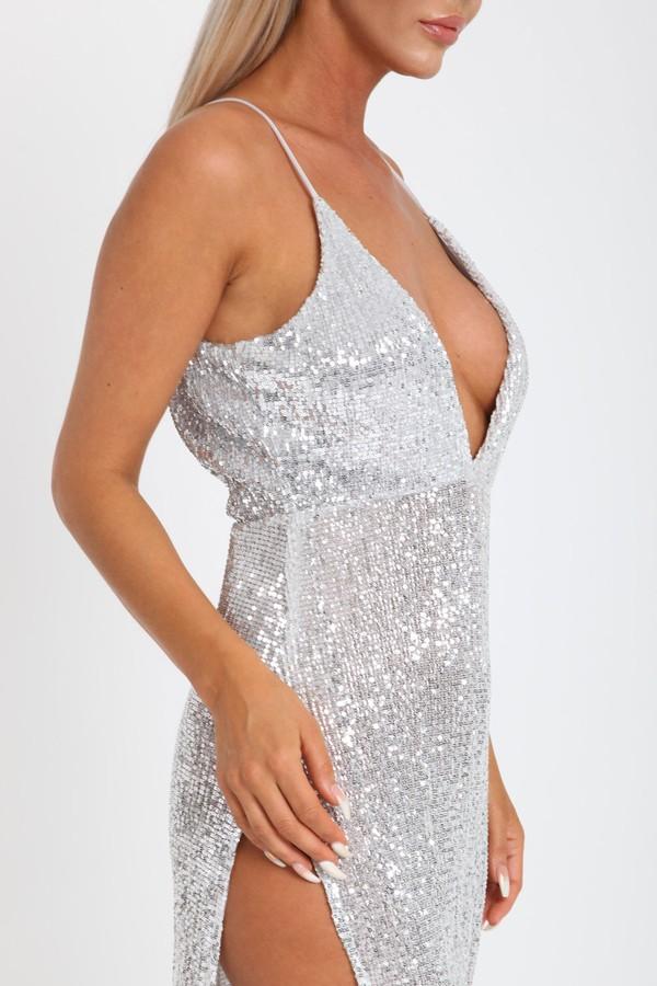 Belinda Sequin Long Gown in Silver