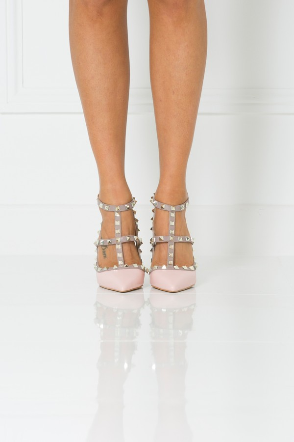 Angelina Studded Heels in Pink Matte