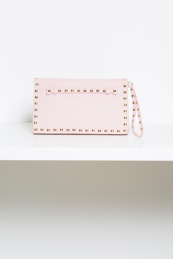 Studded Envelope Clutch Bag in Dusty Pink