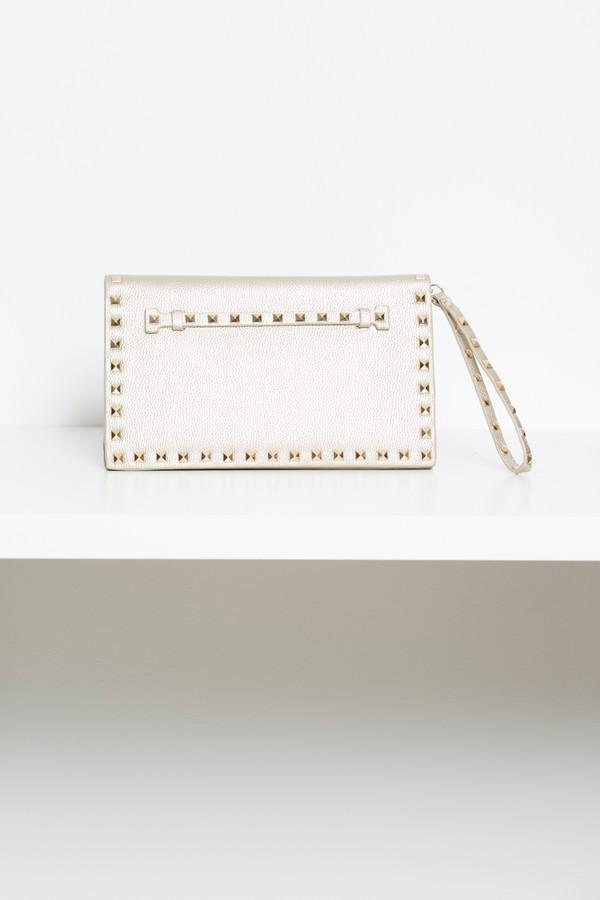 Studded Envelope Clutch Bag in Gold