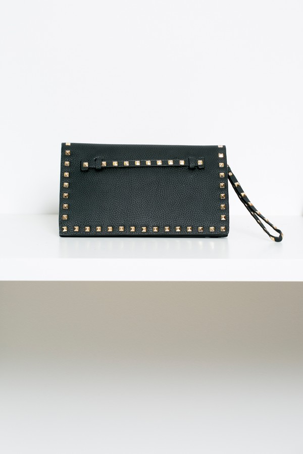Studded Envelope Clutch Bag in Black