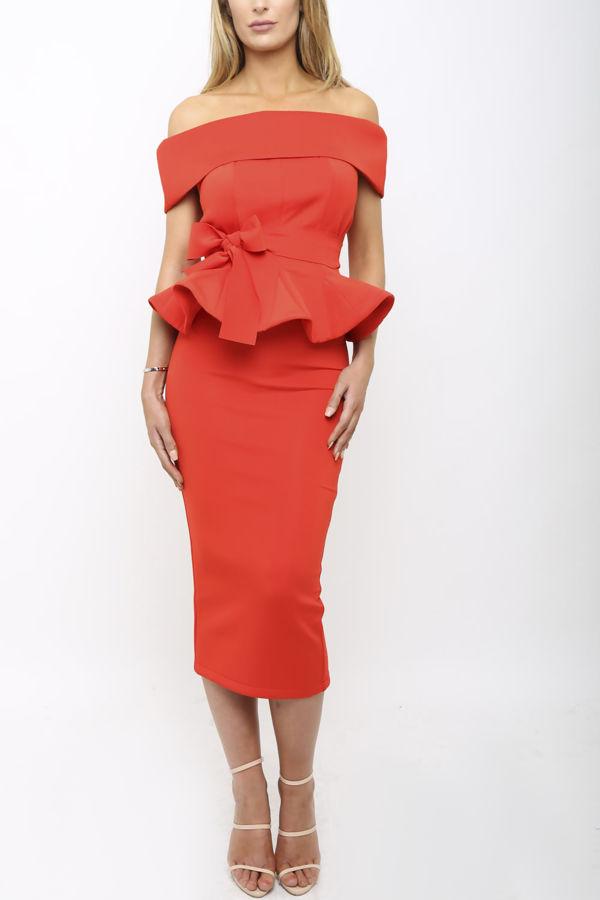 Tammy Bardot Midi Two-Piece in Red