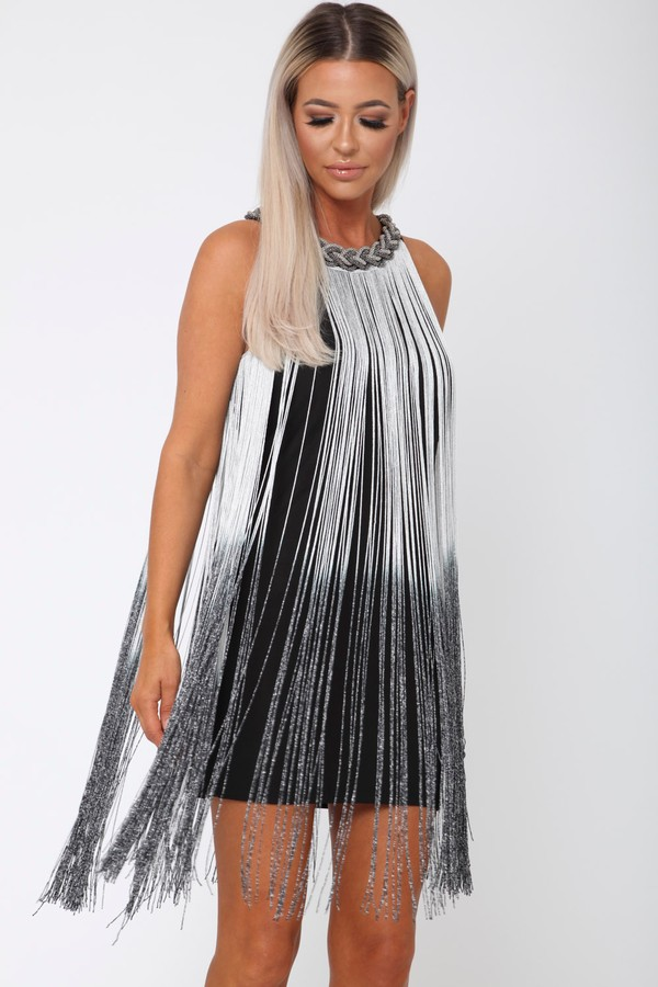 Chester Fringe Mini Shift Dress in Black & Silver