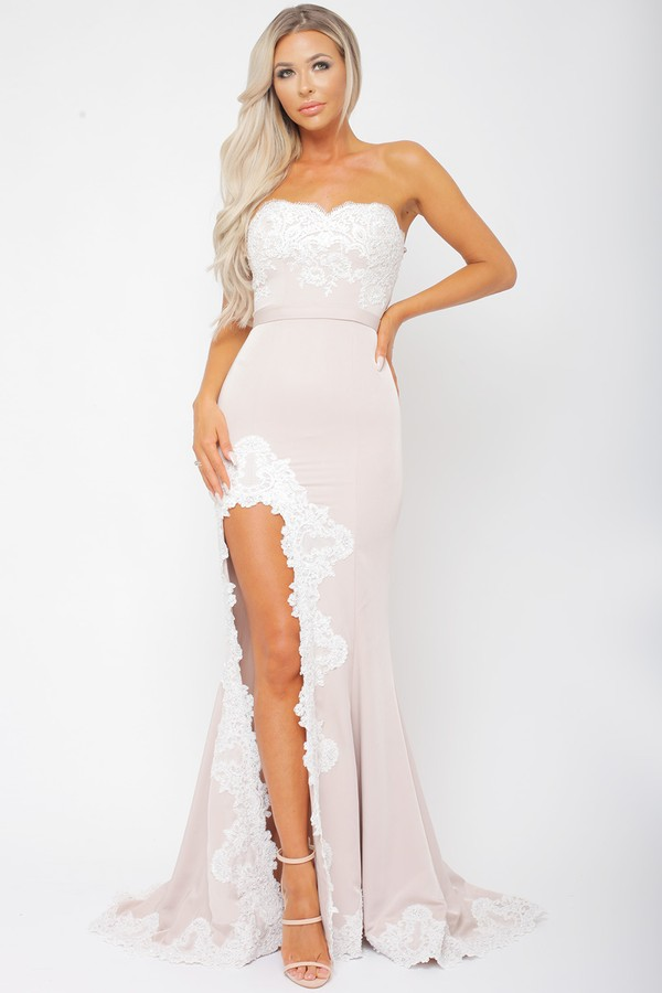 Demi Blush & White Lace Gown