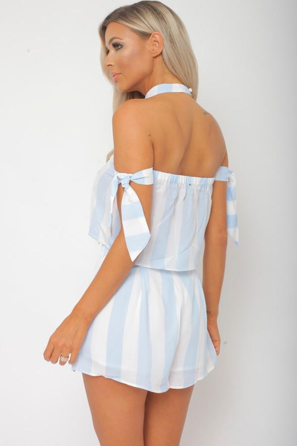 Freya Two Piece in Blue/White