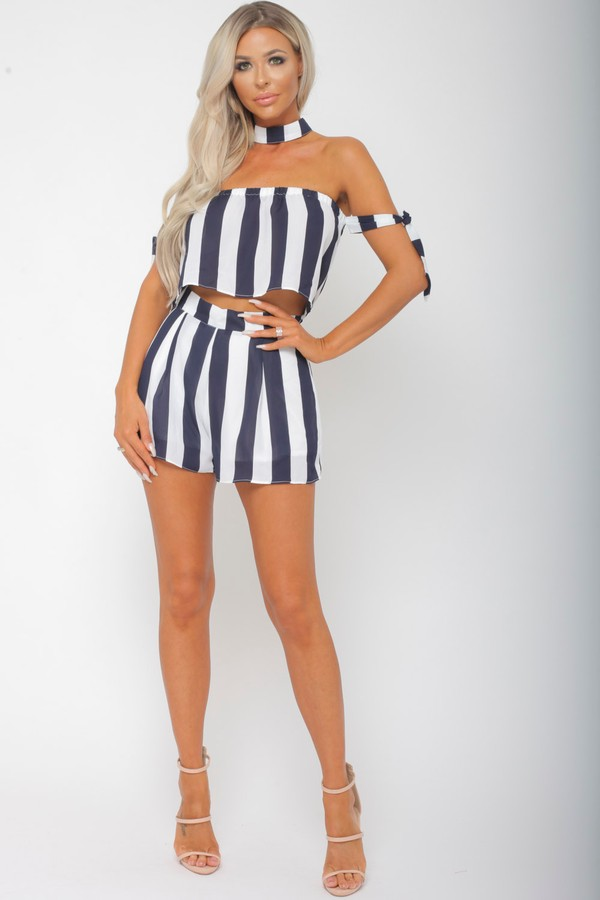 Freya Two Piece in Navy/White