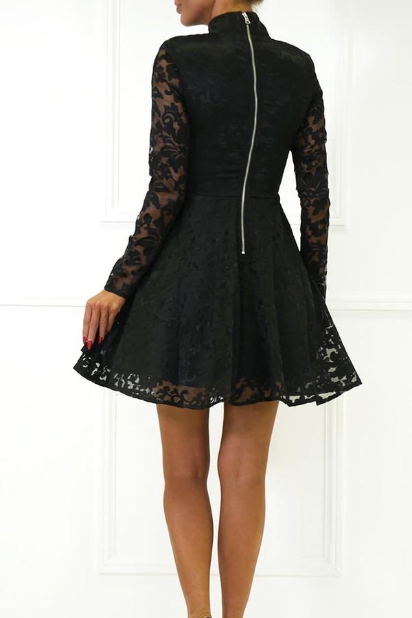Hannah Long Sleeve Lace Mini Dress in Black